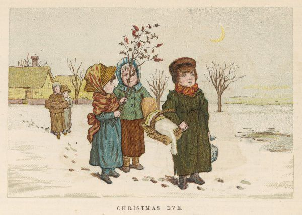 It's Christmas Eve, and these five children are returning home with the Christmas goose and other victuals