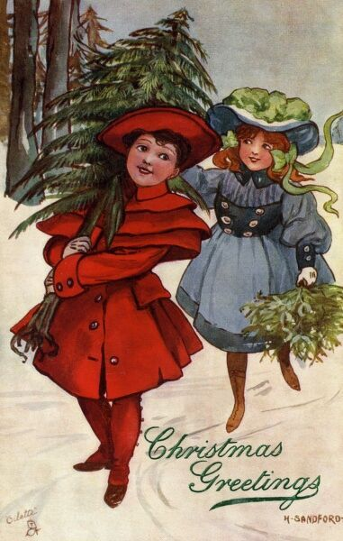 Bringing home the tree by Hilda Dix Sandford. Illustration from a postcard by Hilda Dix Sandford (1875-1946). She specialised illustrating children at play. Date: circa 1909