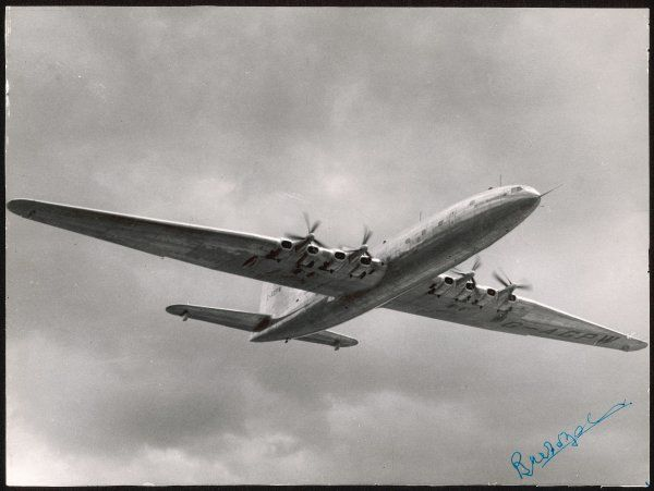 Designed to fly non-stop London-NY, the Bristol 167 is the largest civil aircraft in the air - wingspan 70m, length 54m. It fails for economic not technical reasons
