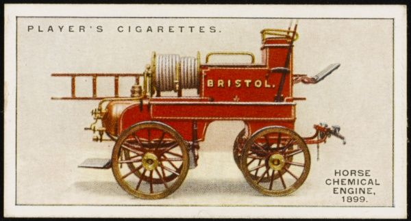 Horse-drawn chemical engine, supplied by Merryweathers for the City of Bristol. The copper cylinders held the chemical fire-fighting compounds
