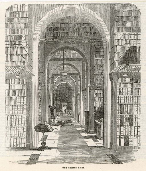 The Arched Room is part of the Museum's collection of books, not yet hidden in the stacks, less still transferred to the British Library