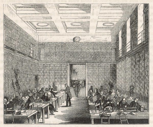 The old reading-room of the Museum, when the British Library is still part of the Museum, and before it is replaced by the great domed Reading Room