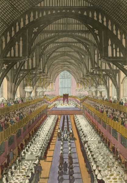 GEORGE IV - his Coronation Banquet in Westminster Hall Date: 1820