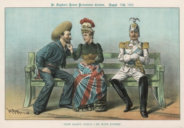 'How happy could I be with either' - Britannia flirts with a French sailor, while the German soldier sits glumly by