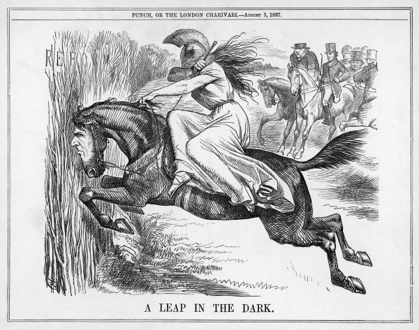 A horse with the head of Disraeli takes 'A Leap in the Dark', in Punch's satire on the Reform Bill