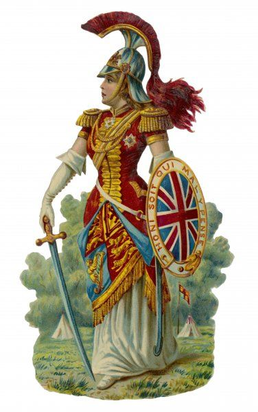 Armed for the fray. What fray ? ANY fray ! Britannia in all her finery