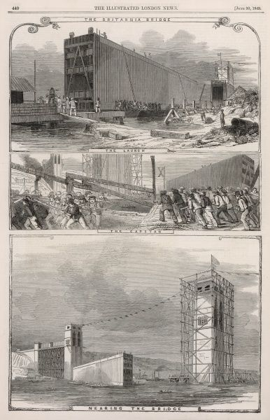 Three views of the Britannia bridge, which was built across the Menai strait between the island of Anglesey and the mainland of Wales. The bridge was begun in 1846 and completed in March 1850