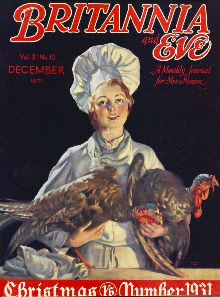 Front cover illustration featuring a female chef holding two turkeys who will soon be gracing someone's table for Christmas dinner; the cook smiles sweetly, looking forward to utilising her culinary skills, while the turkeys bow their heads solemnly