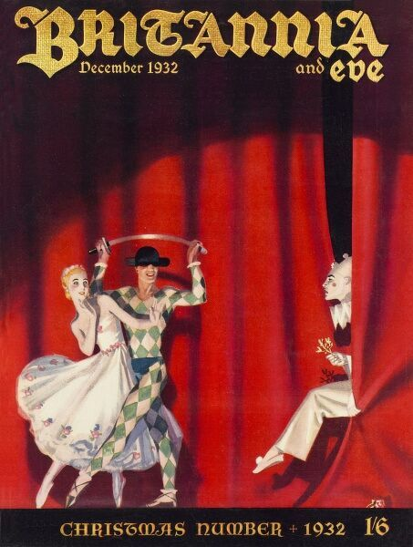 Front cover illustration featuring a ballerina, harlequin and clown performing a rather dramatic scene with a sword on stage