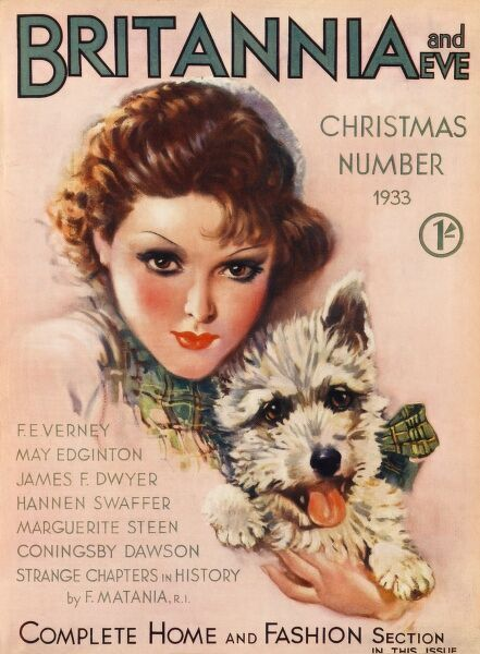 Front cover illustration featuring a glamorous 1930s woman holding a westie dog with green tartan ribbon around it's neck