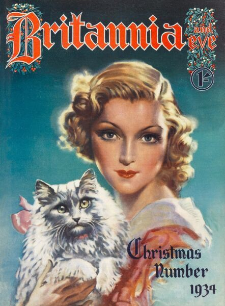 Front cover illustration featuring a beautiful, blonde 1930s woman holding a large, grey, fluffy cat, with a pink bow tied around it's neck