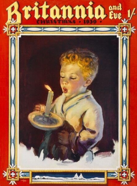 Front cover of Britannia and Eve magazine, December 1939 featuring an illustration of a sweet little boy blowing out a candle