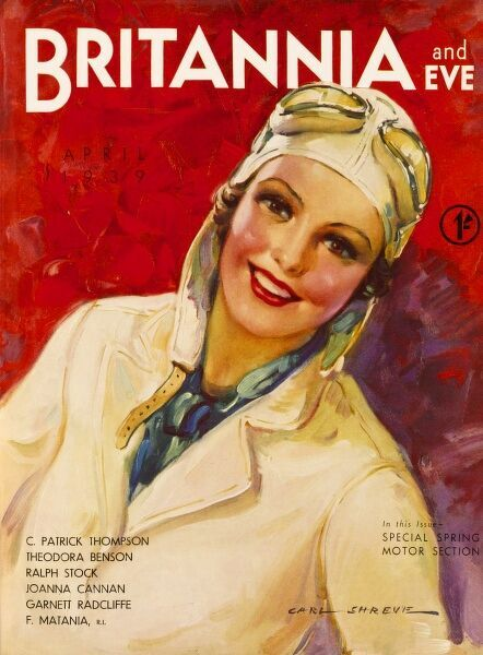 Front cover illustration by Carl Shreve for Britannia & Eve magazine, featuring a jolly looking woman in aviation gear