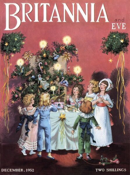 Front cover of Britannia and Eve featuring an illustration showing a group of children, from the late 18th or early 19th century,gazing in awe at a festive arrangement of greenery, candles, decorations and toys on a table also holding a nativity set