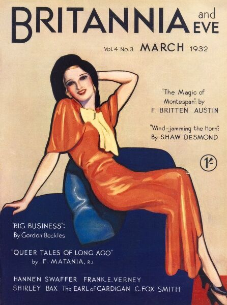 Front cover of Britannia and Eve magazine featuring a woman posing in an orange bias cut dress typical of the period, and black hat