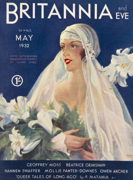 Front cover of Britannia and Eve magazine, featuring a blushing bride with a full veil holding a large bridal bouquet of lilies