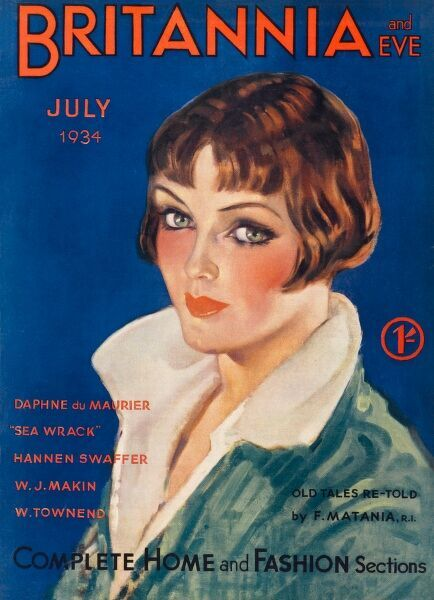 Front cover illustration featuring a woman with a smart bobbed hair style and large eyes, wearing a coat or shirt with a large collar