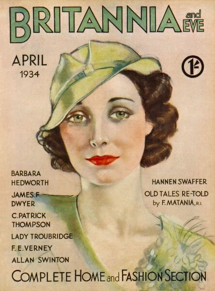 Front cover illustration featuring a glamorous 1930s woman wearing a lime green blouse with matching hat, and floral corsage