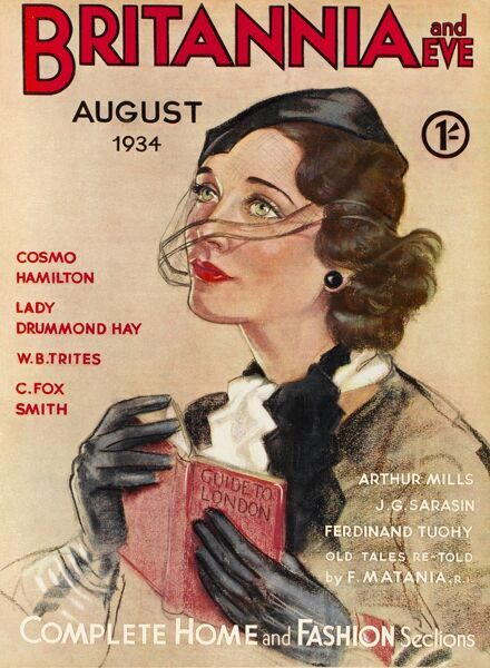 Front cover illustration featuring a 1930s woman with piercing green eyes, looking through a veil attached to her black cap, and holding a Guide to London
