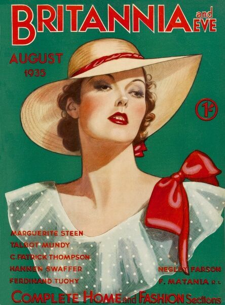 Front cover illustration featuring a glamorous 1930s woman wearing a straw hat, and a large red bow on her shoulder