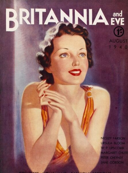 Front cover illustration featuring a smiling woman, clasping her hands with joy and thinking very happy thoughts. She wears a orange silk dress, bright red lipstick and her hair in finger waves