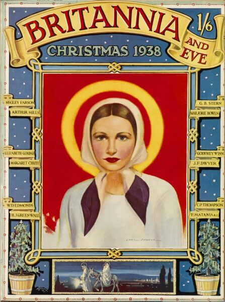 Front cover illustration featuring a saintly looking model, all dressed in white, with hair swept back and hidden under a head scarf