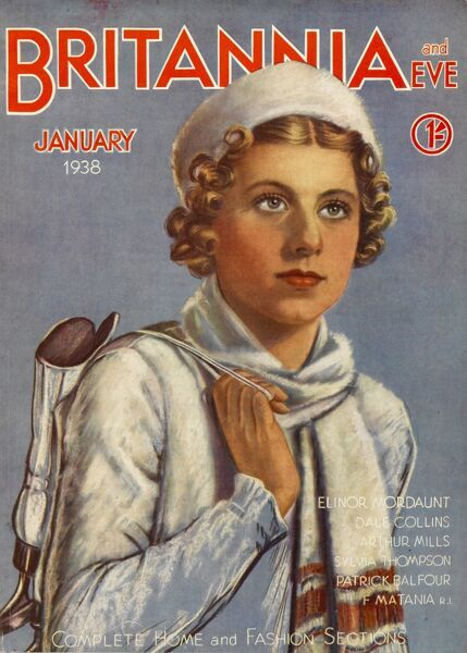 Front cover illustration featuring a curly-haired woman, wrapped up in a woollen hat and scarf, with a pair of ice-skates slung over her shoulder