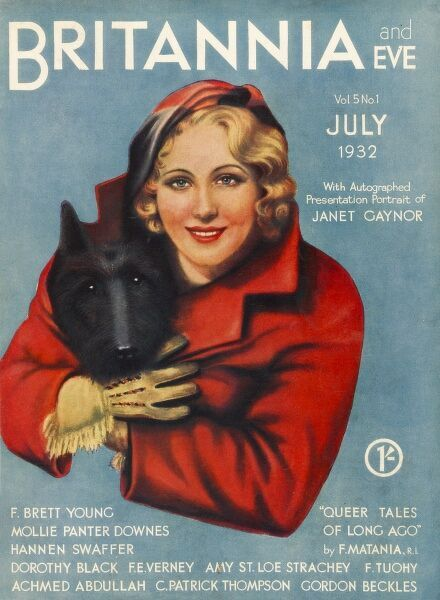 Front cover illustration featuring a fashionable young woman wearing a red jacket and cream gloves, who seems rather warmly dressed for the summertime. A black dog's head peeps out from inside her jacket, protected from an unseasonably cold snap