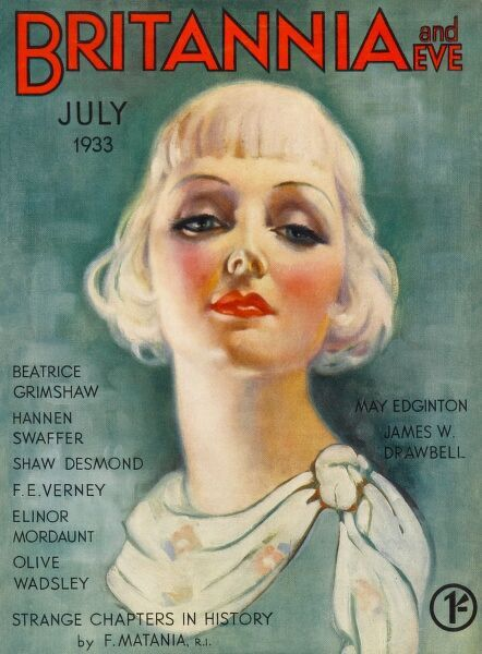 Front cover illustration featuring a pretty blonde 1930s woman with a Bob haircut and short, solid fringe. She wears a floral patterned scarf tied to one side and is heavily made-up with dark eye shadow and bright red lipstick