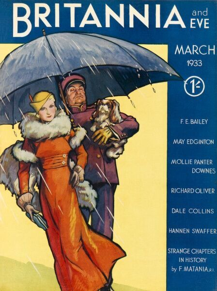 Front cover illustration featuring an extremely glamorous lady wearing a bright orange coat with fur trims, a yellow hat with orange feather and holding a blue clutch bag. Her porter, decked out in a purple suit with matching cap, shields her from the rain
