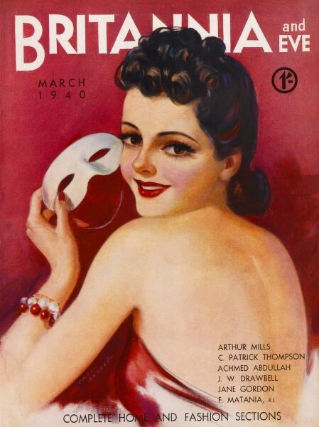 Front cover illustration featuring a glamorous 1930s woman wearing a red backless dress, red and white bangles and holding a white mask