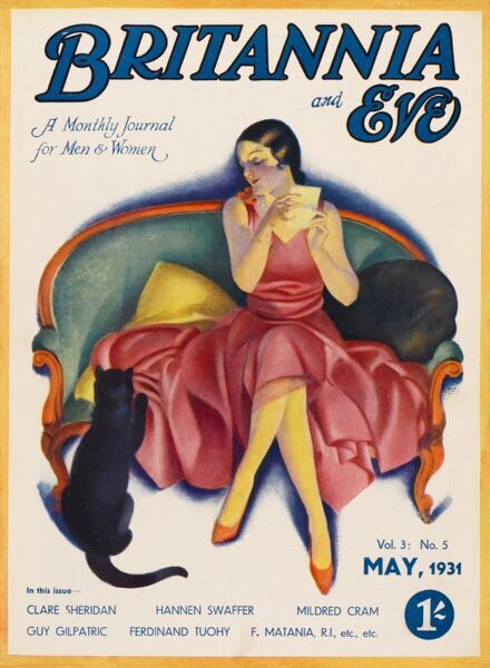 Front cover illustration featuring a glamorous 1930s woman seated on a couch, distracted from reading a letter by her pet cat who seems to be scratching at her beautiful raspberry-coloured gown. Naughty cat