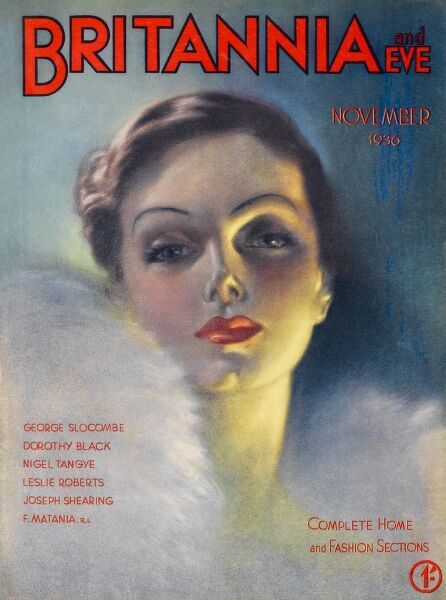 Front cover illustration featuring a glamorous 1930s woman wearing a white feathery stole, with bright red lipstick and heavy eye shadow