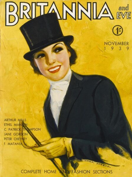 Front cover illustration featuring a 1930s lady decked out in the finest equestrian attire, complete with top hat, tails and whip