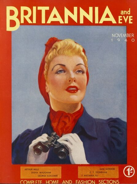 Front cover illustration featuring an attractive and well turned-out 1940s model wearing a red headscarf and holding a pair of binoculars