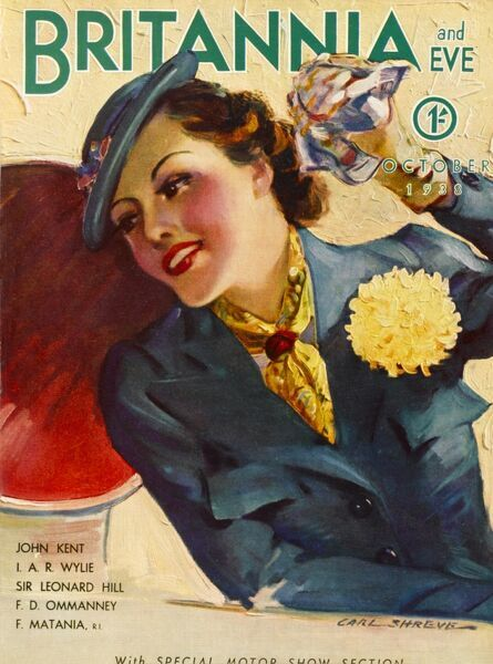 Front cover illustration featuring a glamorous 1930s woman waving with a handkerchief from a ship. She wears a blue suit and hat, along with a bright yellow neck-tie and matching floral corsage