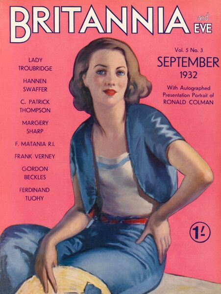 Front cover illustration featuring a pretty 1930s woman in casual attire. She wears blue trousers with a matching short-sleeved jacket and white camisole and holds a straw hat with blue ribbon
