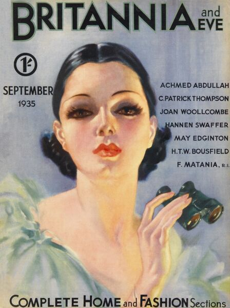 Front cover illustration featuring a beautiful dark-haired 1930s woman with huge hazel eyes, wearing a light blue evening gown and clutching a pair of binoculars