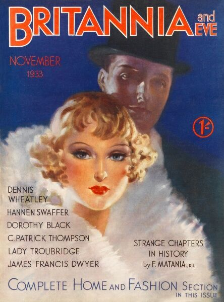 Front cover illustration featuring a glamorous couple, the woman swathed in a huge fur collar and her beau in top hat and tails