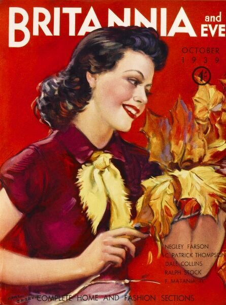 Front cover illustration showing a jolly brunette woman admiring an autumnal branch. Date: October 1939