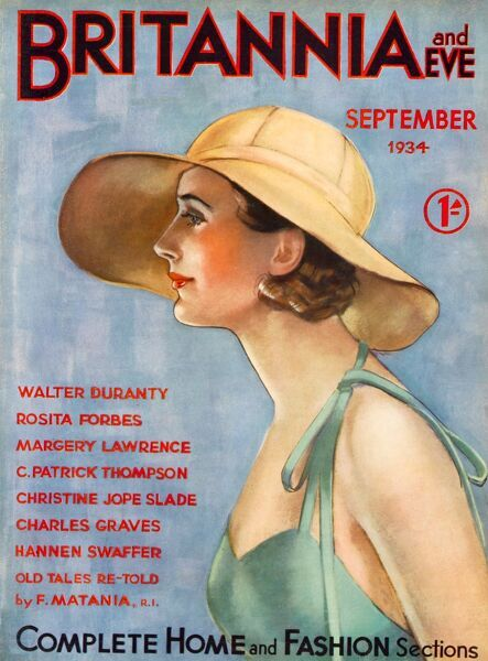 Front cover illustration featuring the profile of a woman wearing a fashionable sun hat and strappy top
