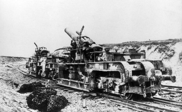 A British 12 inch railway mounted Howitzer on the Western Front during the First World War. Date: circa 1918