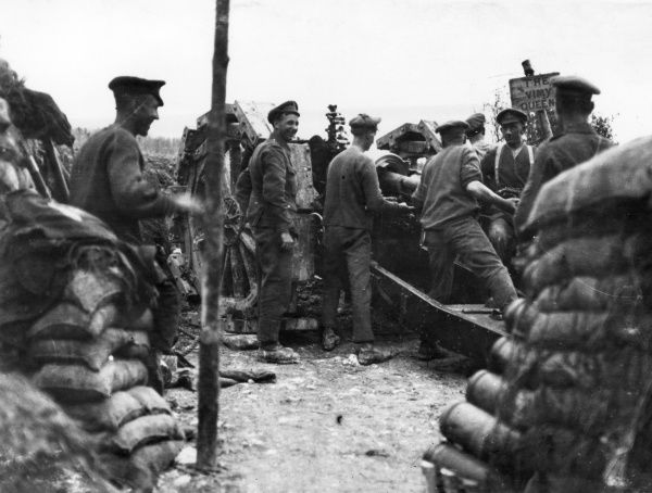 British gunners loading a 6 inch Howitzer during the Battle of Albert, northern France, First World War. Date: 1 July 1916