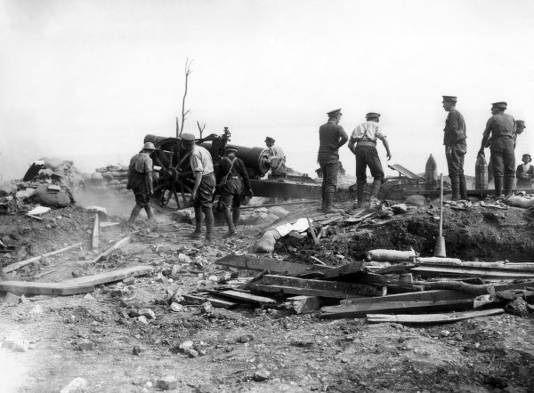 A British 8 inch Howitzer in action at Longueval, northern France, during the First World War. Date: September 1916