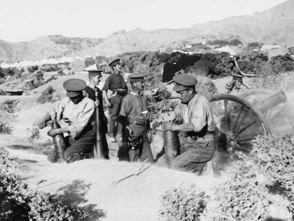 Territorial gunners, from the 4th Glasgow Battery detached from 52nd Division, at Suvla firing a 5 inches Howitzer