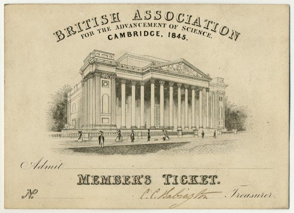 Admission Ticket for the 1843 meeting of the British Association at Cambridge, with a view of the Fitzwilliam Museum