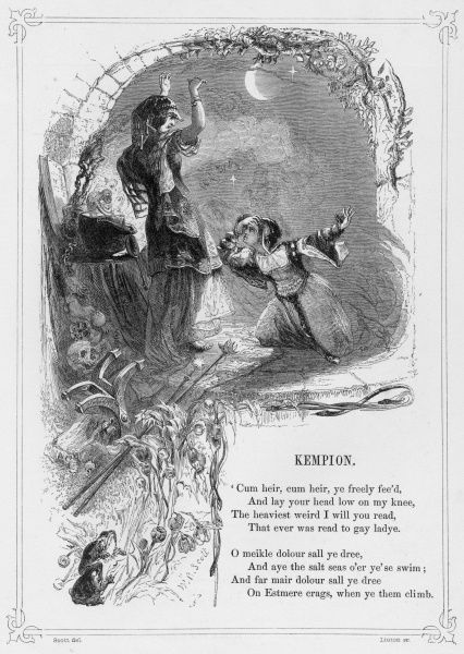 KEMPION (Kemp Owyne) British Ballad telling the story of a woman turned into a dragon, by her stepmother, who curses her to remain so until the King's son comes to kiss her three times
