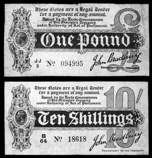 A One Pound and a Ten Shillings note issued following a moratorium announced by the Government at the outbreak of World War One