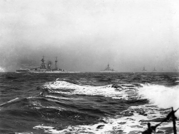 British battle cruisers at sea, including (from left to right) HMS Lion, HMS Princess Royal and HMS Tiger, during the First World War. Date: 1914-1918