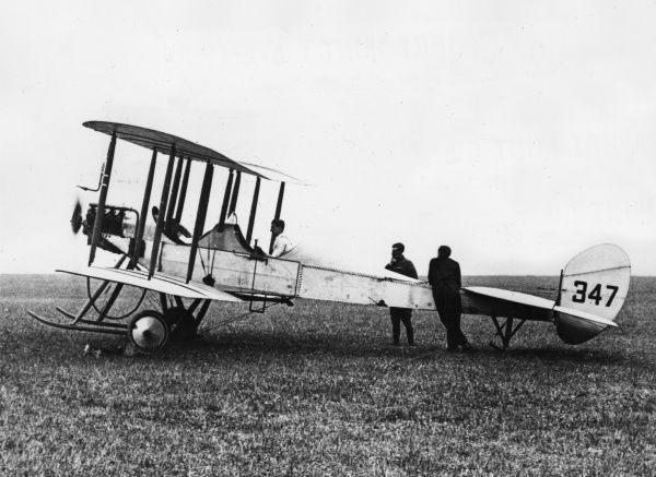A British BE2 two-seater biplane on an airfield during the First World War. It was used for reconnaissance and as a light bomber. Date: 1914-1918